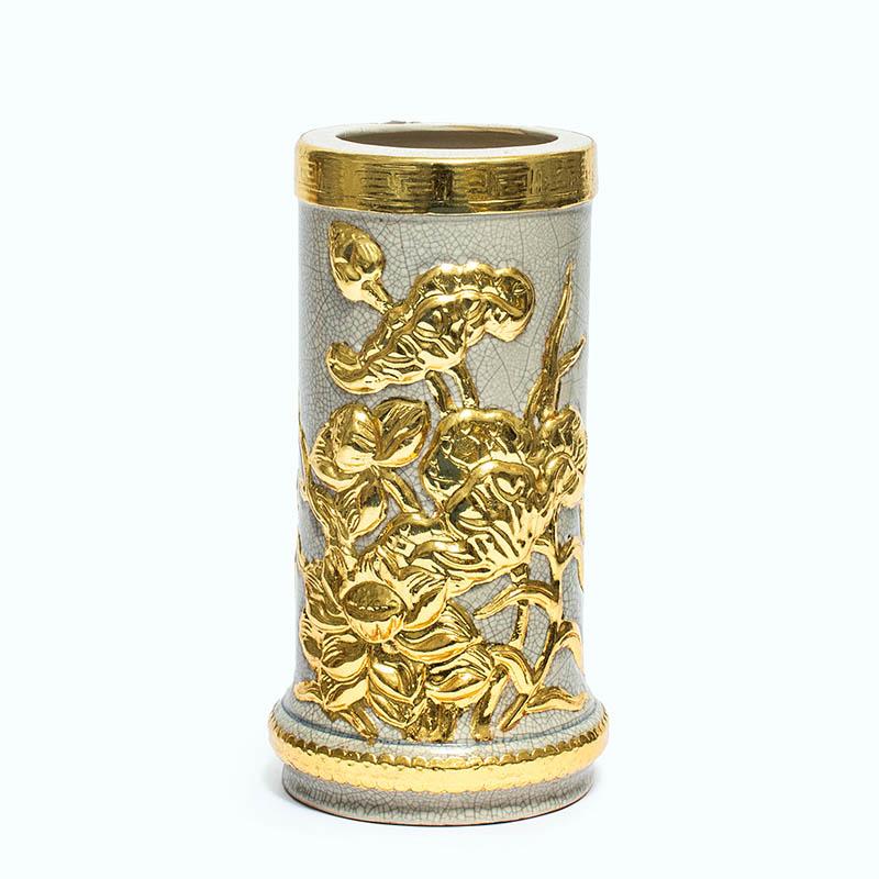 Ống hương Sen men rạn dát vàng 18K H30