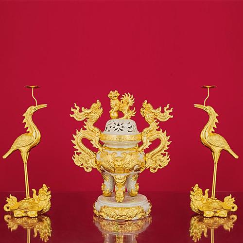 đỉnh hạc men rạn vẽ vàng
