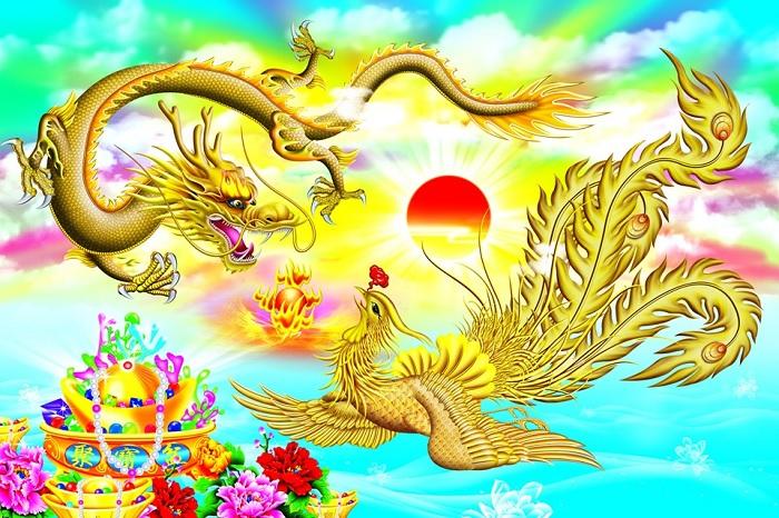 Rồng phượng quấn quýt bên nhau thể hiện mưu cầu sung túc, hạnh phúc